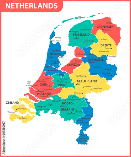 Photo The detailed map of Netherlands with regions or states and cities, capital