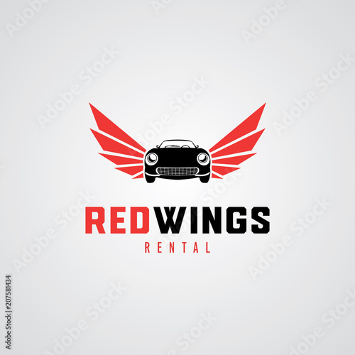 Red Wings Car Logo Design Template - Buy this stock vector