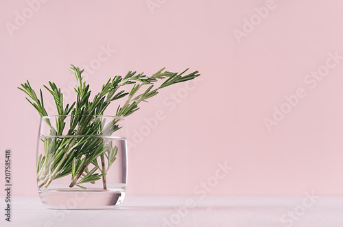 Elegance home decor - fragrant bouquet fresh rosemary in glass vase on white table and fashion pink background.