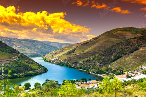 Foto auf Gartenposter Fluss River Douro region at sunrise