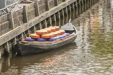Close-up Of Boat With Cheeses In Alkmaar. Netherlands Holland