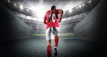 Soccer Player Entering The 3d Imaginary Stadium