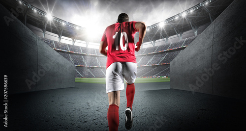 Foto Soccer player entering the 3d imaginary stadium