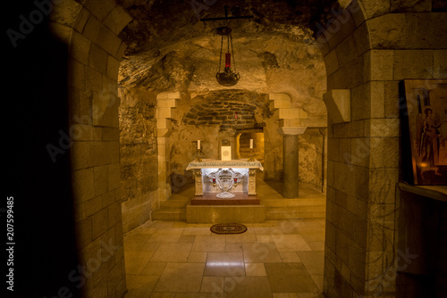 Nazareth, Israel - May 6, 2018 : Grotto of the Virgin Mary in the Basilica of th Canvas Print
