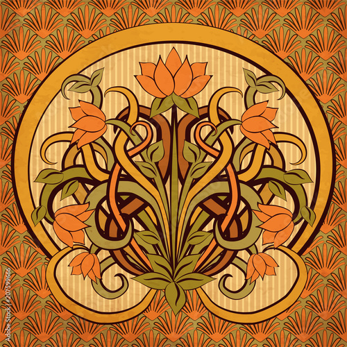 Floral wallpaper in art nouveau style, vector illustration Wall mural