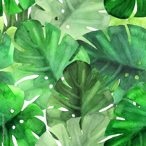 bezproblemowa-zielony-tropikalny-wzor-akwarela