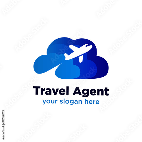 Fotografering  Travel Agent Logo with cloud and plane symbol, Flight company