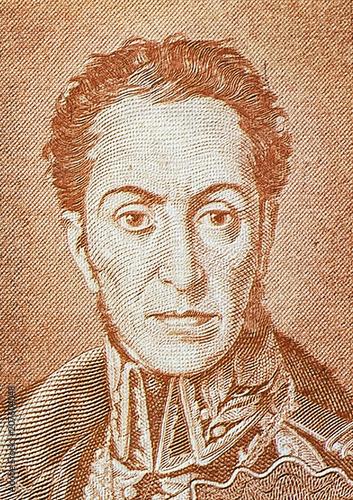 Fotomural Military and political leader Simon Bolivar portrait close up on old Bolivian ba