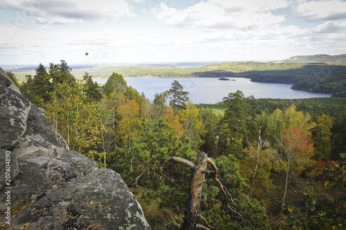 Fotobehang Wit Landscape: early autumn in the mountains