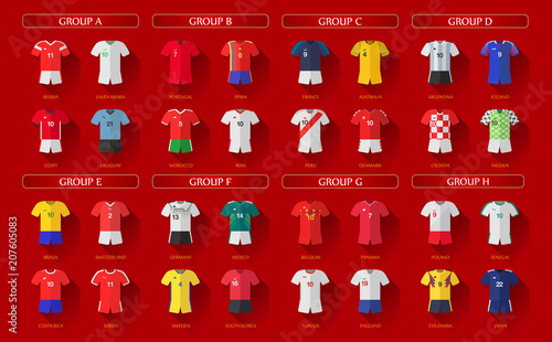 Fotografía Soccer World Championship 2018 All Home Jerseys Layered Vector Set