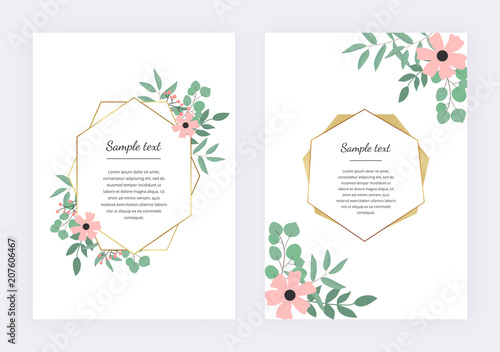 Wedding Invitation With Polygonal Geometric Frame Golden Lines With