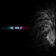 Abstract Mash Line And Point. Vector Image Of Lion Origami On Black Background With An Inscription. Lion's Head Low Poly Wire Frame Illustration With Distruction Effect. Wild Animal Illustration.