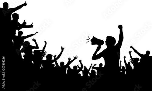 Fotografie, Tablou  Crowd of people silhouette vector