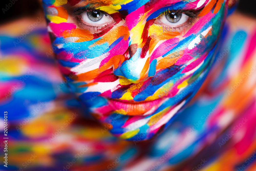 Fototapety, obrazy: Portrait of the bright beautiful girl with art colorful make-up and bodyart