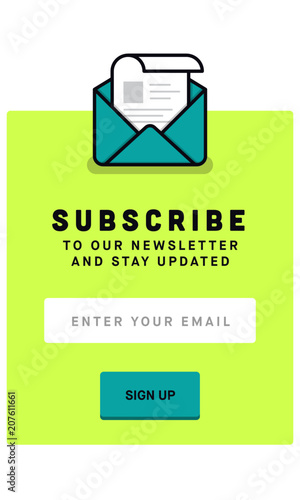 Subscribe Now For Our Newsletter (Flat Style Vector