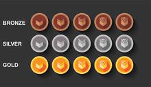 Flat Vectors Set Game Rank Illustration Design. Bronze, Silver And Golden Medal Award