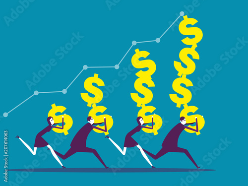 Business team carrying dollar sign  Vector illustration