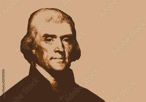 Fotografie, Obraz  Thomas Jefferson - président des États Unis - portrait - personnage historique -