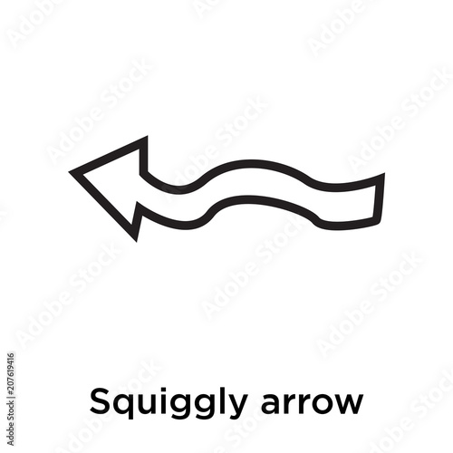 Squiggly Arrow Icon Vector Sign And Symbol Isolated On White