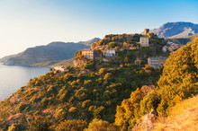 Village Of Nonza, Corsica, France At Sunset