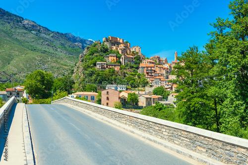 Fotografie, Obraz  Bridge towards the Village of Corte, Corsica, France