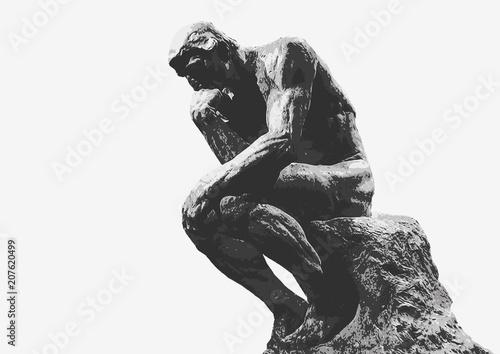 Penseur de Rodin - sculpture - penseur - symbole - concept - homme - création - Fototapet