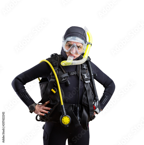 Diver in wetsuit and diving gear, white background