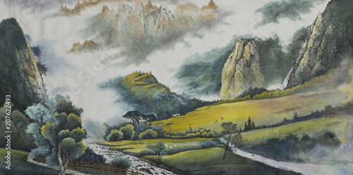 Keuken foto achterwand Khaki mountain landscape with a sieve and fields