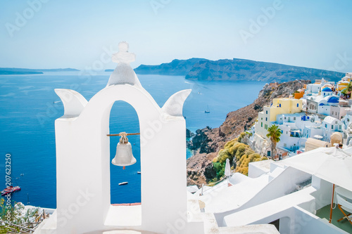 Fotobehang Santorini Greek whitewashed church dome with blue roof at Oia Santorini Greece