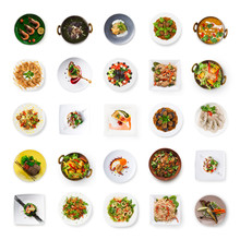 Collage Of Restaurant Dishes Isolated On White