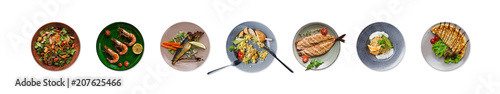 Spoed Fotobehang Klaar gerecht Collage of restaurant dishes isolated on white