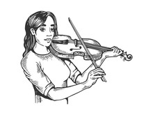 Girl And Violin Engraving Vect...