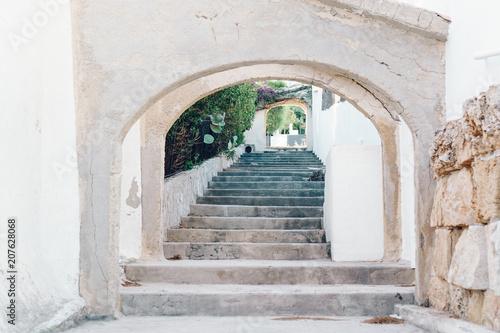 Old grunge village stairs way