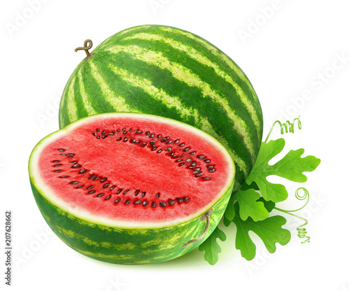 Isolated cut watermeon. One and half watermelon fruit with leaves isolated on white background with clipping path