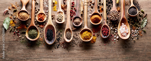 Canvas Prints Spices Spices on wooden board
