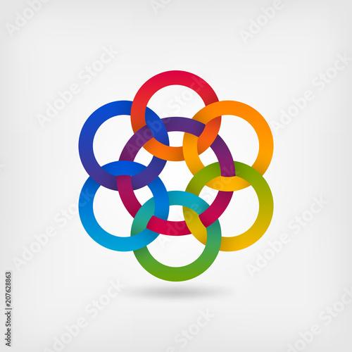 Fotografie, Obraz  seven interlocked circles in gradient rainbow colors