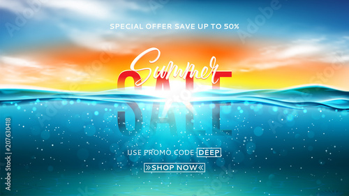 Summer sale background template Fototapeta