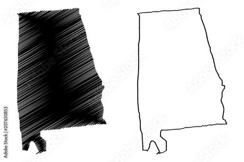 Alabama map vector illustration, scribble sketch Alabama map Canvas Print