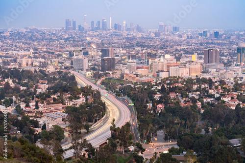 Plakat Zachód słońca w Los Angeles Cityscape