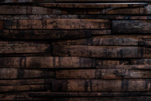 Used Bourbon Barrel Staves On Wall