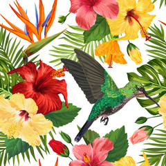 Panel Szklany Zwierzęta Floral Tropical Seamless Pattern with Exotic Flowers and Humming Bird. Blooming Flowers, Birds and Palm Leaves Background for Fabric, Wallpaper, Textile. Vector illustration