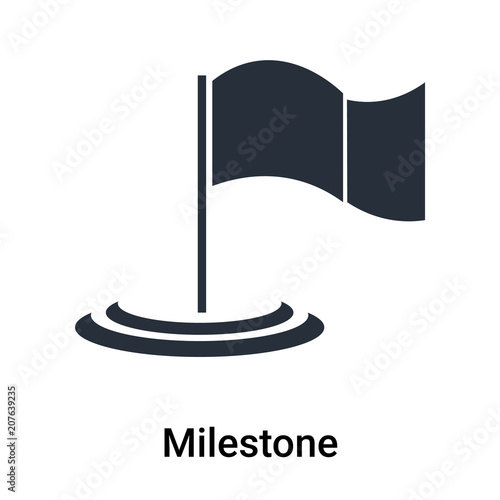 Foto  Milestone icon vector sign and symbol isolated on white background, Milestone lo
