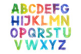 Colored pencils alphabet font type handwritten hand draw abc letters
