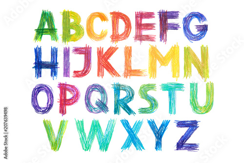 Colored pencils alphabet font type handwritten hand draw abc letters Canvas Print