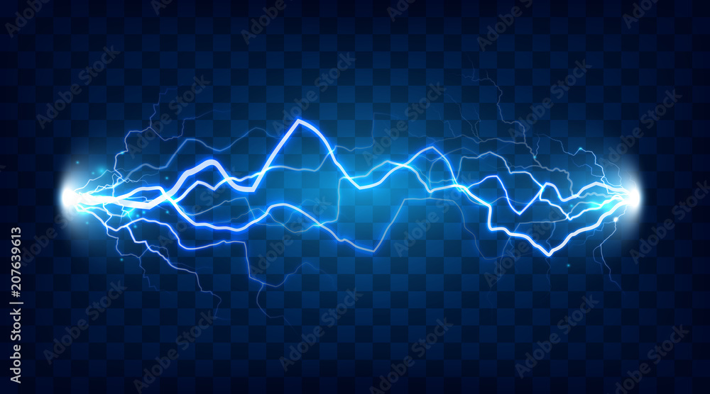 Fototapety, obrazy: Electric discharge shocked effect for design. Power electrical energy lightning or electricity effects isolated vector