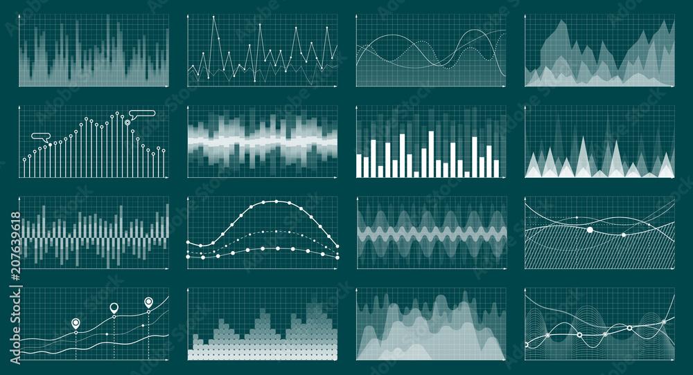 Fototapeta Currency grow chart. Stock graph diagram, finance and economic market analysis graphs. Analysis economics graphs vector concept