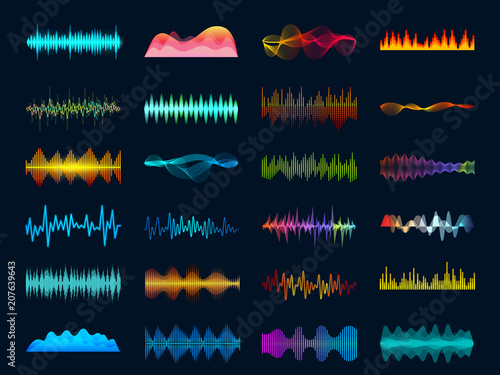 Audio waveform signals, wave song equalizer, stereo recorder sound visualization Canvas Print