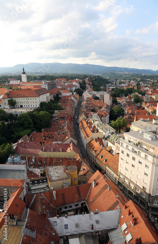 Foto op Canvas India Aerial view of the rooftops of Radiceva Street in Zagreb, Croatia