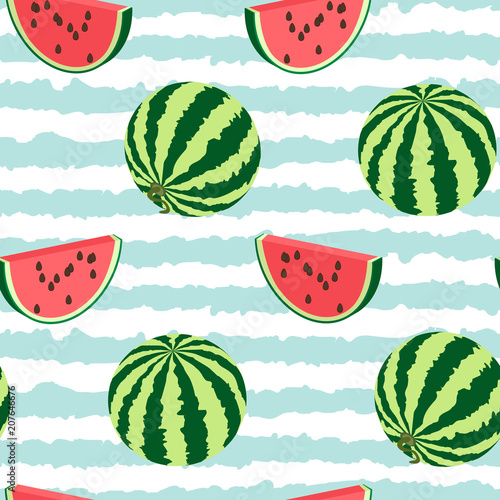 Cotton fabric Seamless pattern of watermelon whole, a piece.