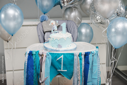 Colorful Decoration Of A First Year Birthday Cake Baby Cake Smash